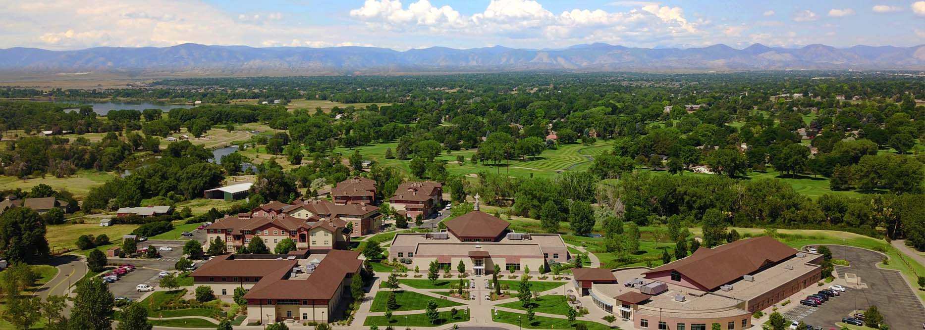 Aerial view of the Denver Campus with buildings