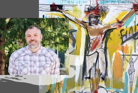 abstract art of jesus on cross
