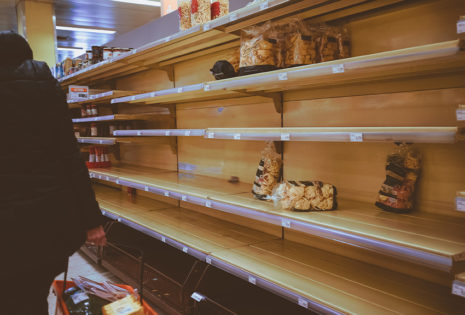 empty shelves in grocery store