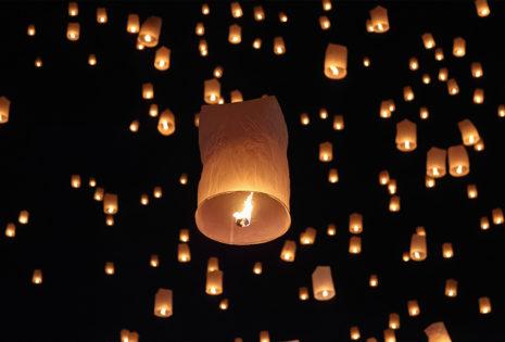 lanterns flying in the night sky