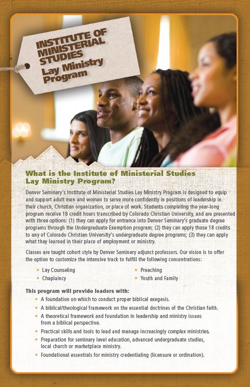 Brochure showing information for Lay Ministries program and four students